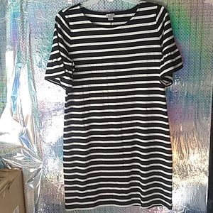 J Crew Ruffle sleeve striped dress